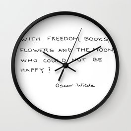 with freedom, books, flowers and the moon Wall Clock