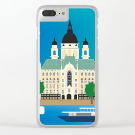 Budapest, Hungary - Skyline Illustration by Loose Petals Clear iPhone Case