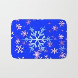 DECORATIVE BLUE  & WHITE SNOWFLAKES PATTERNED ART Bath Mat