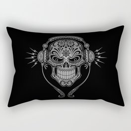 Gray and Black DJ Sugar Skull with Headphones Rectangular Pillow