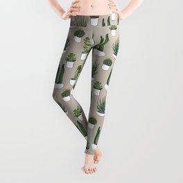 Watercolour cacti & succulents - Beige Leggings