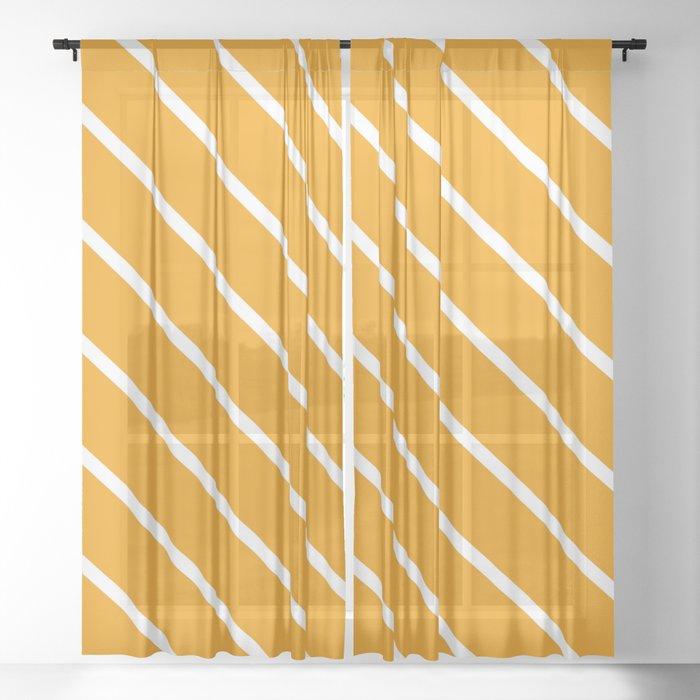 Diagonal Lines (White & Classic Orange Pattern) Sheer Curtain