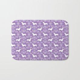 Dachshund purple florals pet portrait dog art dachsie doxie pet art dog breeds Bath Mat