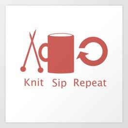 Knitting and Coffee Art Print