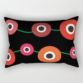 Red poppy circle on black Rectangular Pillow