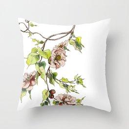Camellia Inspired Flower Branch Throw Pillow