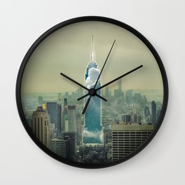 Building warp out Wall Clock