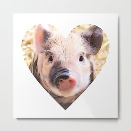 Cartoon Piglet in heart Metal Print