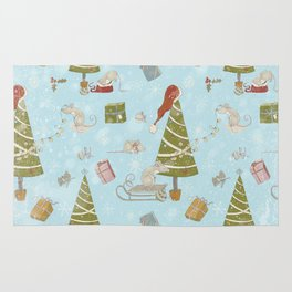 From Mice And Christmas - Cute teal X-Mas Pattern Rug