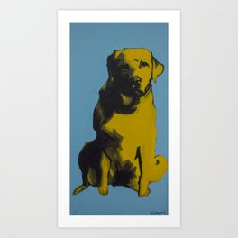 A yellow dog Art Print