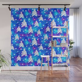 Watercolor Seamless pattern with hand drawn snowflakes and christmas tree . Wall Mural