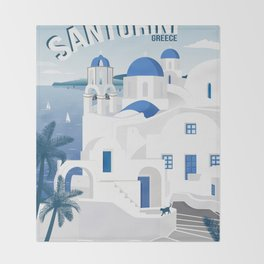 Vintage Santorini poster Throw Blanket