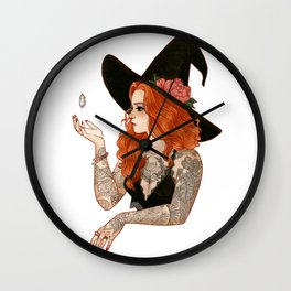 Red tattooed witch Wall Clock