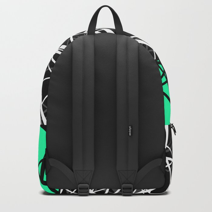 Black and white abstract geometric pattern with green insert . Backpack