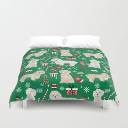 Cockapoo dog breed christmas holiday pet portrait pattern gifts Duvet Cover