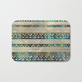 Tribal Ethnic  Pattern Gold on Abalone Shell and Pearl Bath Mat