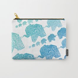 The Elephant - Origami Style and japanese pattern Carry-All Pouch