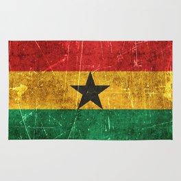 Vintage Aged and Scratched Ghana Flag Rug