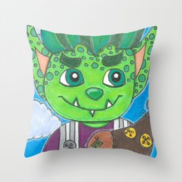 Young Goblin with stuffed dog Throw Pillow