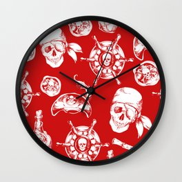 Red Pirate Pattern Wall Clock