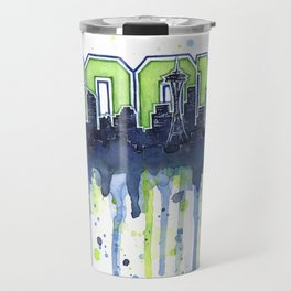 Seattle 12th Man Seahawks Painting Legion of Boom Art Travel Mug