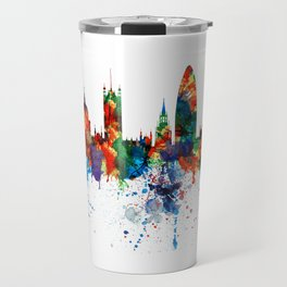 London Watercolor Skyline Silhouette Travel Mug