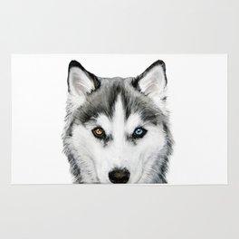 Siberian Husky dog with two eye color Dog illustration original painting print Rug