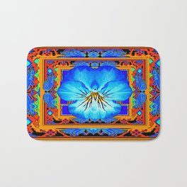Orange Southwest Blue pansy Patterned Art Design Bath Mat