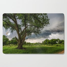 Big Tree - Tall Cottonwood and Passing Storm in Texas Cutting Board