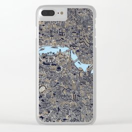 London color map city drawing illustration Thames Clear iPhone Case