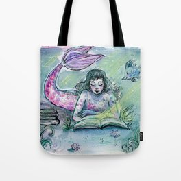 Reading Mermaid Tote Bag
