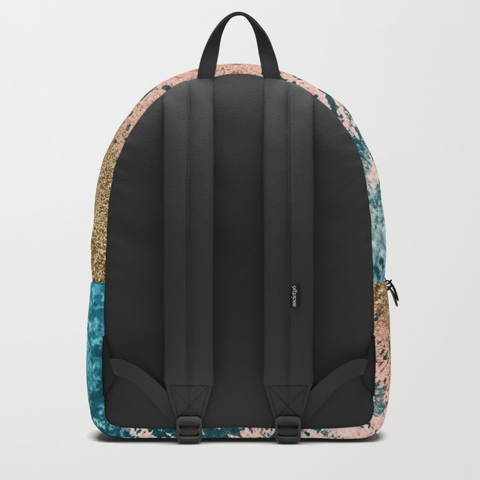 River: a minimal, abstract mixed-media piece in pink, teal and gold Backpack