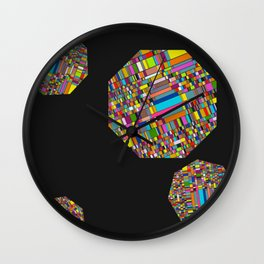 Pixelated Octagons Wall Clock