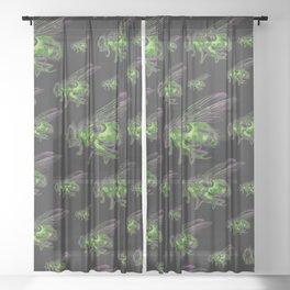 Housefly GHOST GREEN Sheer Curtain