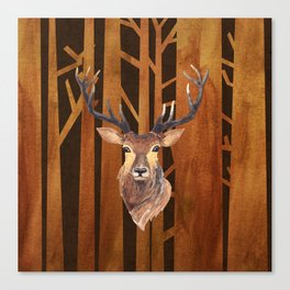 Proud deer in forest 1- Watercolor illustration Canvas Print