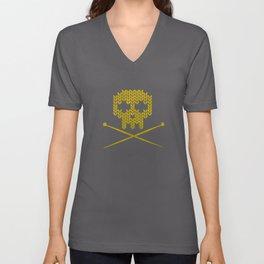 Knitted Skull (White on Yellow) Unisex V-Neck