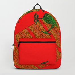 Explorer Schematic Warped Green on Red Backpack
