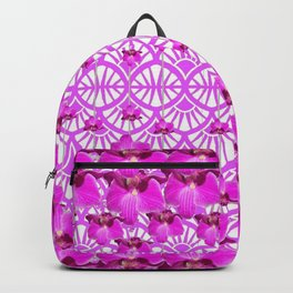 ABSTRACT PATTERNED PURPLE ART DECO  ORCHIDS Backpack