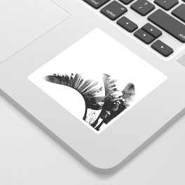 Palm leaves black and white tropical watercolor Sticker