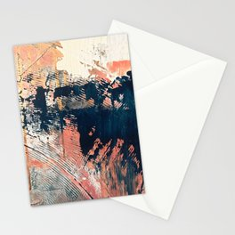 Hidden Gem [1]: an abstract mixed media piece in pink, blue, gold and white Stationery Cards