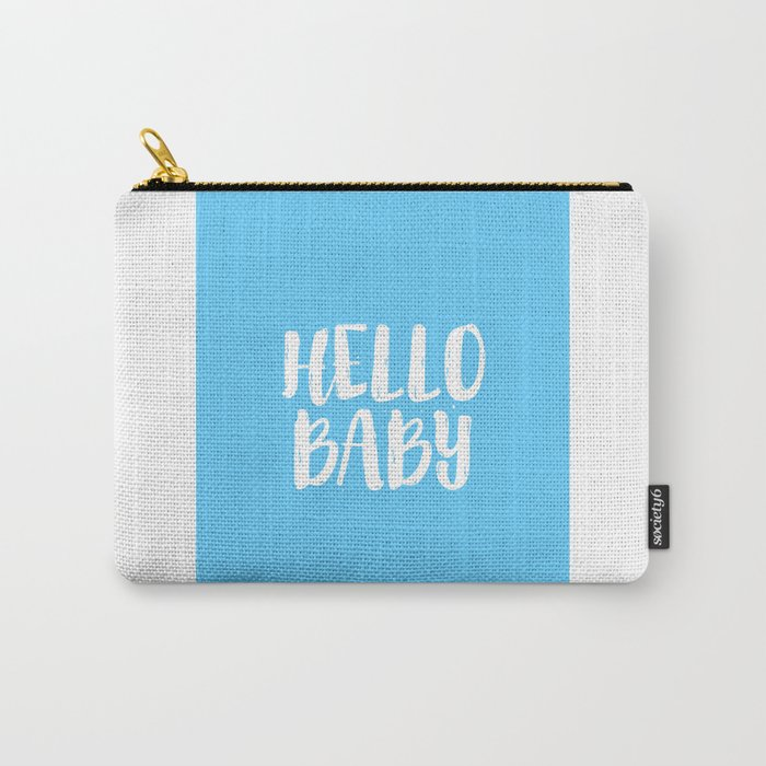 Nursery Decor Baby Room Decor Baby Boy Gift Newborn Hello Baby Hello Sign Nursery Wall Art Kids Gift Carry-All Pouch