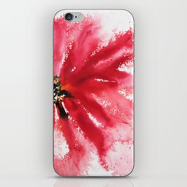 Crimson Red Abstract Flower Watercolor iPhone Skin