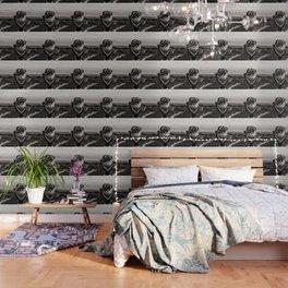 Mountain Tourist Binoculars Black and White Wallpaper