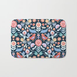 Happy Folk Summer Floral on Navy Bath Mat