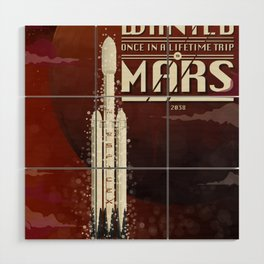 Spacex rocket to Mars Wood Wall Art