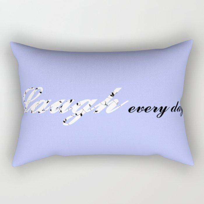 Laugh Every Day (Light Blue) Rectangular Pillow