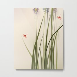 oriental style painting, tall grasses and flowers Metal Print