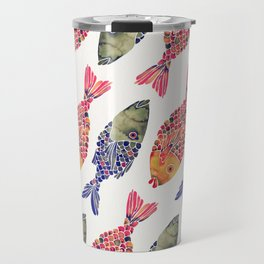 Indonesian Fish Duo – Navy & Coral Palette Travel Mug