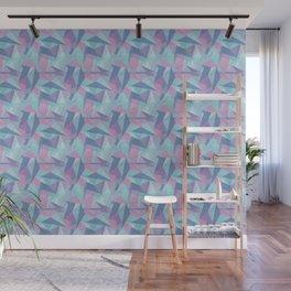 Abstract Light Purple Aqua, Teal Pink and Dark Blue Geometric Triangle Mosaic Tile Pattern Wall Mural
