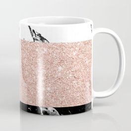 Modern black white marble rose gold color block stripes pattern Coffee Mug